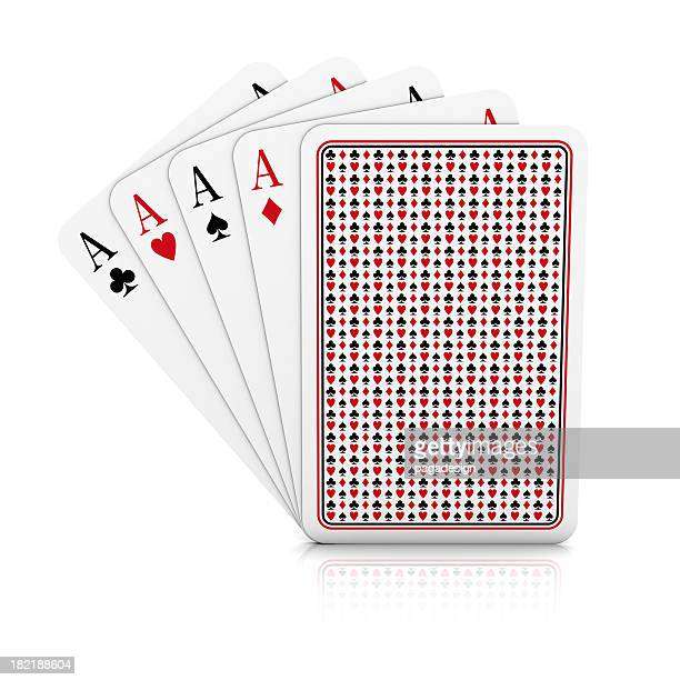 four aces on white background