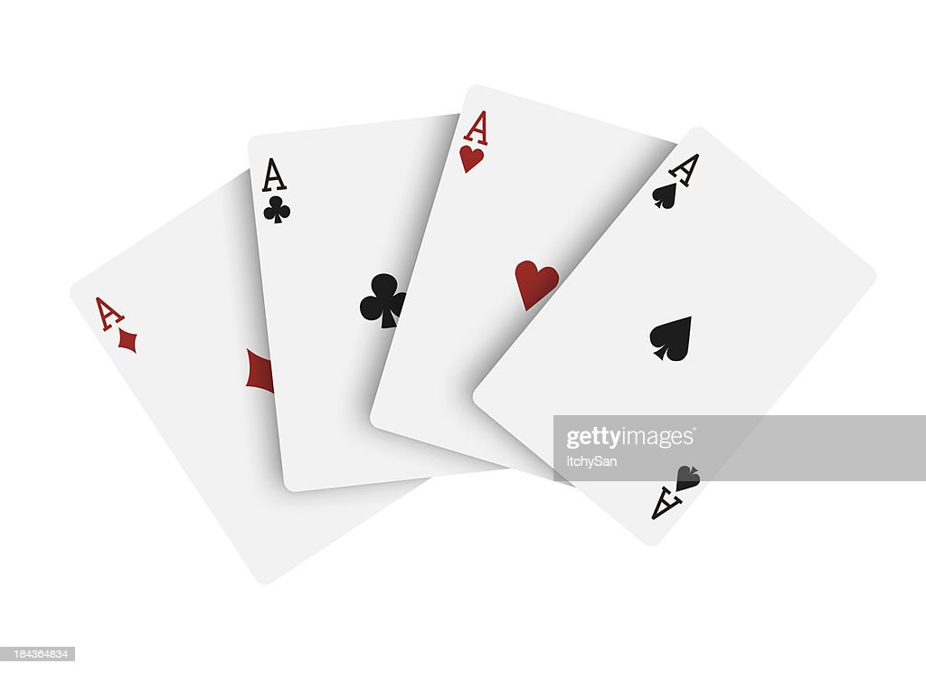 'Four aces, playing cards'
