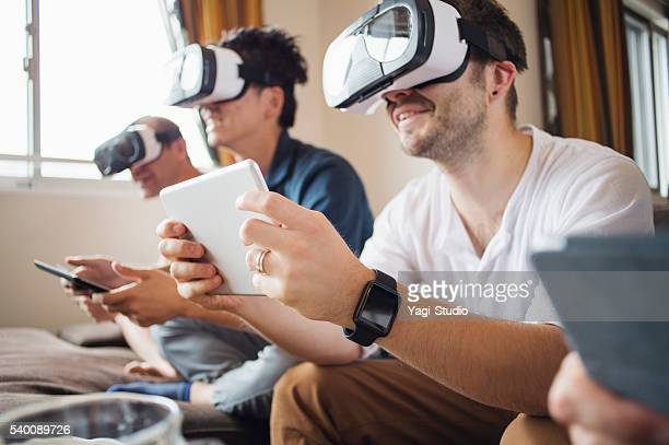 Four adults to play with a virtual reality headset