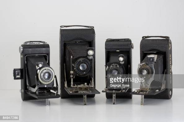 Four Americanmade Eastman Kodak folding film cameras are seen together in this 2009 Healdsburg California studio photo