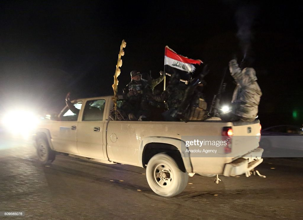 Four battalions of the Iraqi Army equipped with heavy weapons on their way to the 'Nineveh Joint Operations Command' base in the Mahmur region, which is under the control of Peshmerga forces, in Nineveh, around 60 kilometers from Mosul city center, Iraq on February 11, 2016. The Iraqi central government has carried out large scale maneuvers formed of 4,500 soldiers aimed at taking back Mosul from the Daesh terrorist organization for the first time since June 2014.