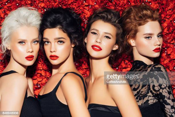 Vier mooie meisjes met make-up
