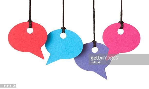 Cuatro blanco discurso burbujas montaje de rosca