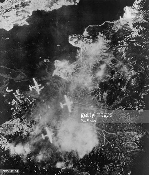 Four Boeing B29 Superfortress bombers of the XXI Bomber Command part of the United States Air Force Global Strike Command on a bombing raid over the...