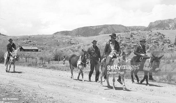 Four Burro Racers Set Out on 800mile Trek to Texas Moving out from Creede Colo are Don Craig of Lake City Colo Slim Bloxham also of Lake City Bill...