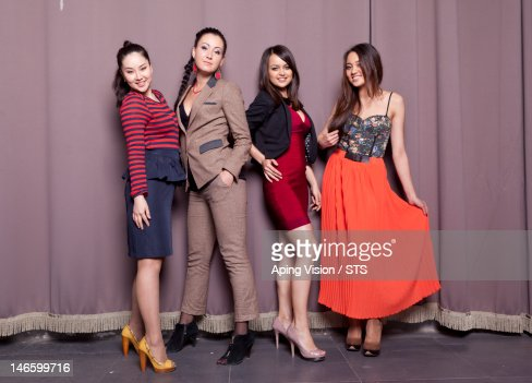 Four cheerful Russian girls : ストックフォト