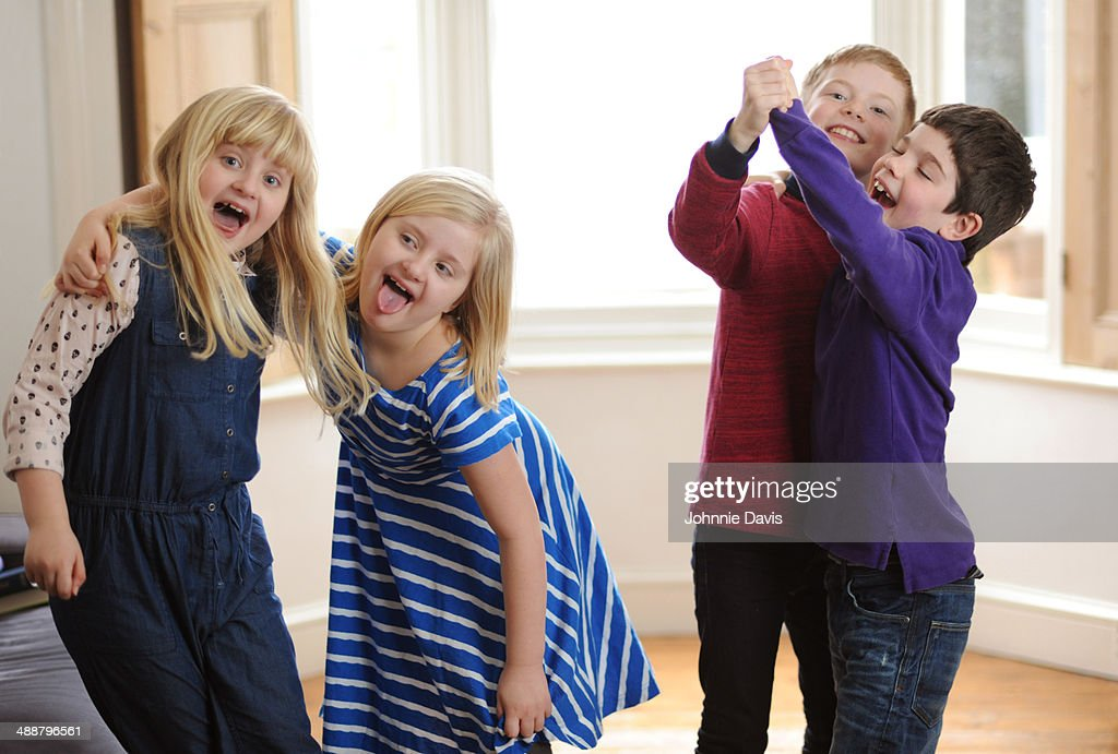 four children messing around at home : Stock Photo