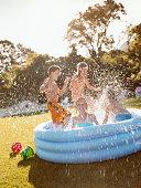 Four Children Splashing Around in a Paddling Pool
