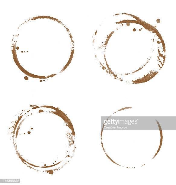 Vier Kaffee Tasse Flecken