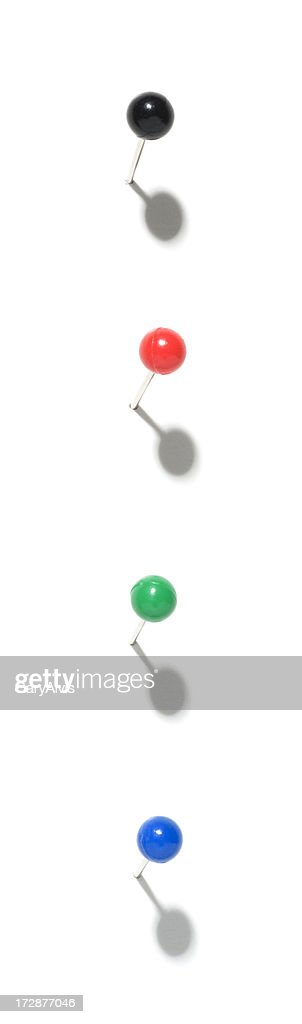 Four colorful Push pins w/shadows-isolated on white