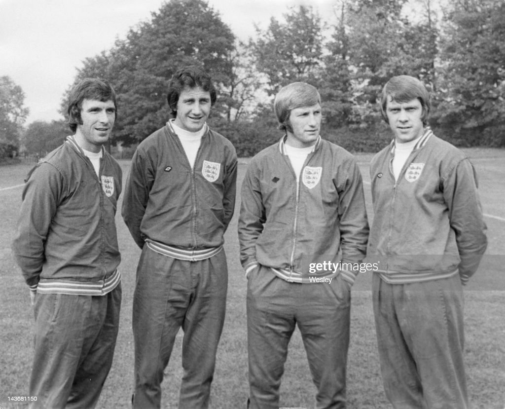 Four Derby County footballers who are also members of the England team at an England training session at Stevenage Hertfordshire 25th September 1973...