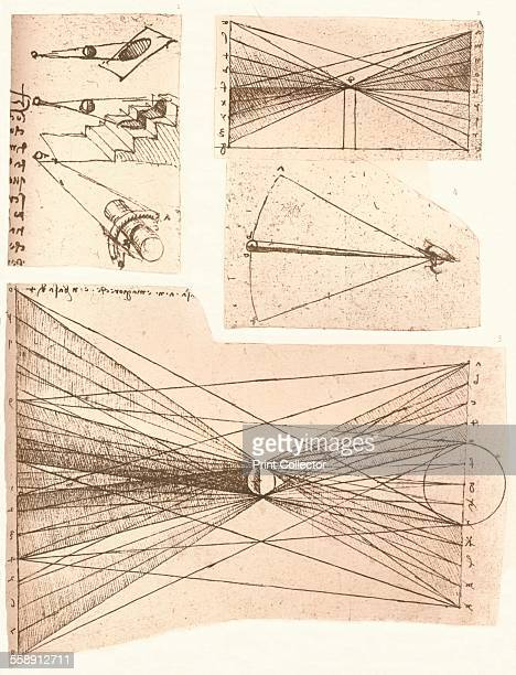 Four diagrams illustrating the theory of light and shade c1472c1519 From The Literary Works of Leonardo Da Vinci Vol 1 by Jean Paul Richter PH DR...