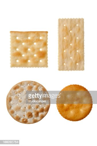 Four different crackers in white background