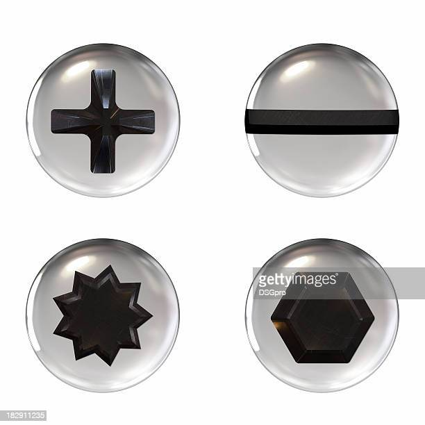 Four different shaped screw icons on a white background