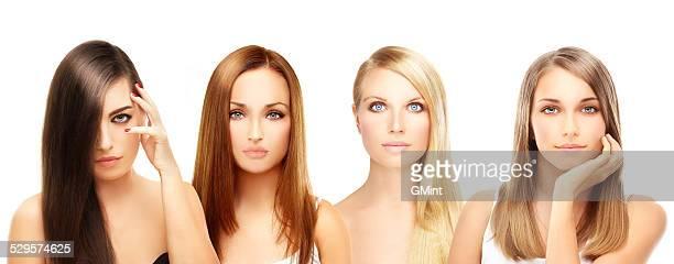 Vier unterschiedliche Frauen. Blond und brünett
