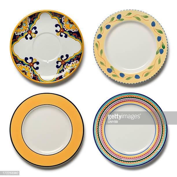 Vier Abendessen Gerichte auf weißem Hintergrund