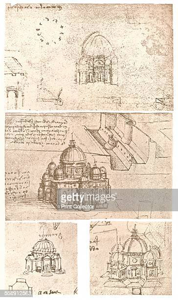 Four drawings of ecclesiastical architecture c1472c1519 From The Literary Works of Leonardo Da Vinci Vol II by Jean Paul Richter PH DR [Sampson Low...