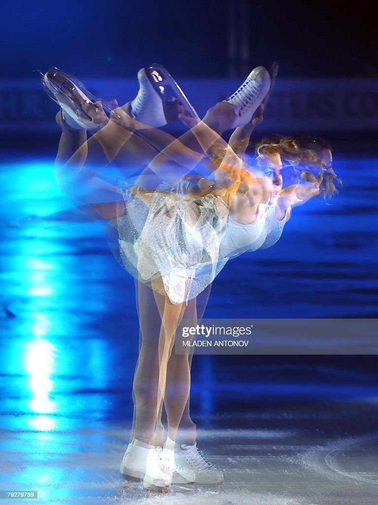 A four frame multipleexposure picture shows Croatia's Mirma Libric performing an exhibition program at the Dom Sportova Arena in Zagreb 27 January...
