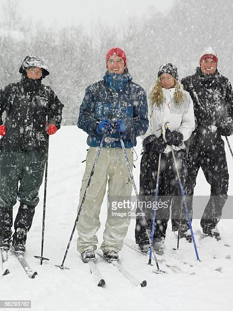 Four friends on skis
