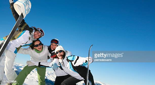 Four Friends Skiing - copy space