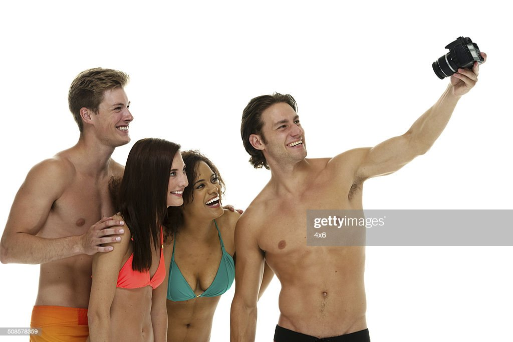 Four friends taking selfie : Stock Photo