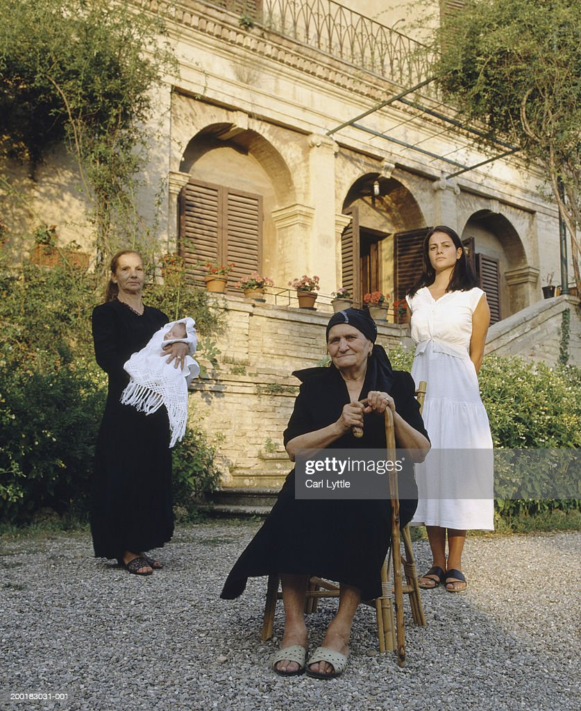 Four generational female family members, outdoors, portrait : Stock Photo
