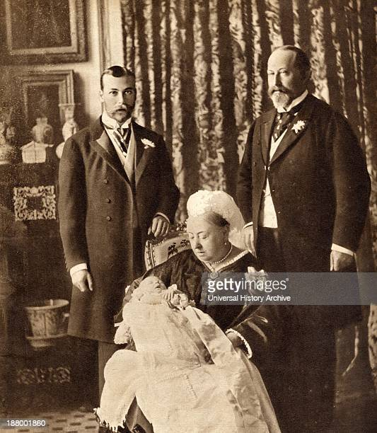 Four Generations Of The English Royal Family Standing Left The Future King George V Standing Right King Edward Vii Seated Queen Victoria Holding The...