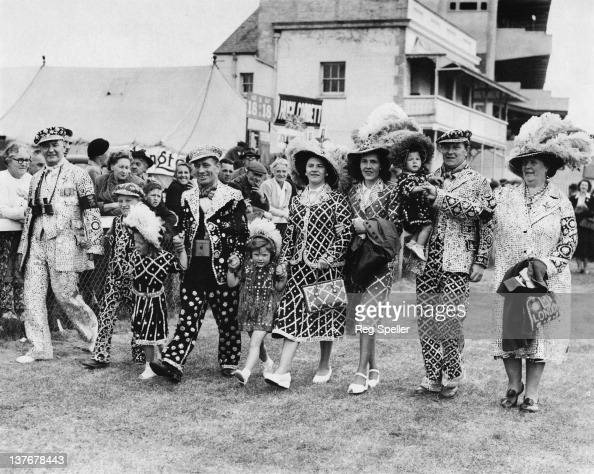 Four generations of the Marriott family in their pearly outfits at Epsom Downs Racecourse for the Derby Surrey 18th May 1952 At far left and far...