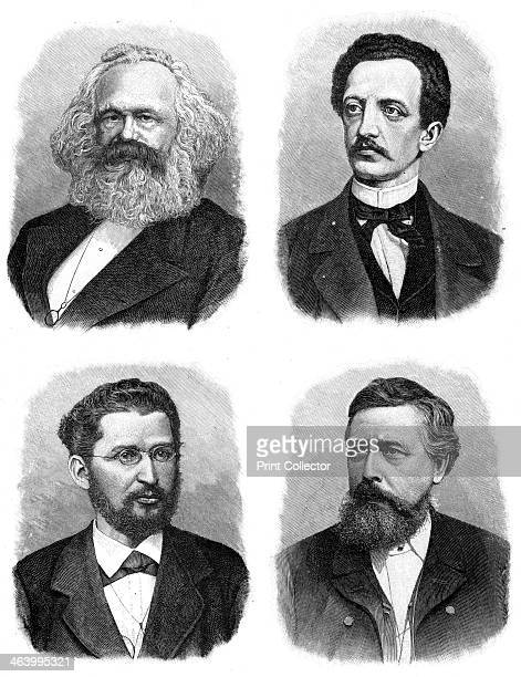 Four German socialists Karl Heinrich Marx German philosopher political economist and revolutionary Ferdinand Lasalle German jurist and socialist...