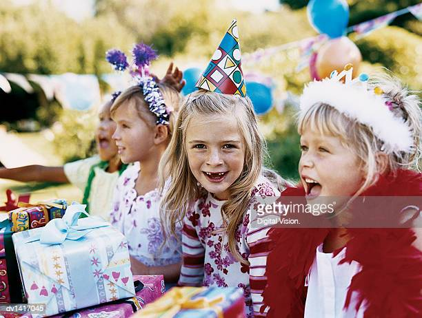 Four Girls at a Birthday Party Sat in a Row