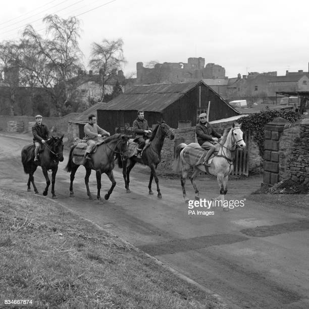 Four Grand National entries from Captain Neville Crump's string at Middleham Yorkshire L to R Forest Prince Limeking Yudor Deal and Forecastle Frank...