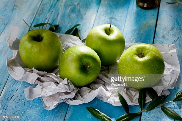 Four Granny Smith and olive twigs on paper