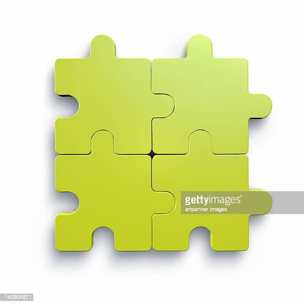 Four green puzzle parts, the rest is missing