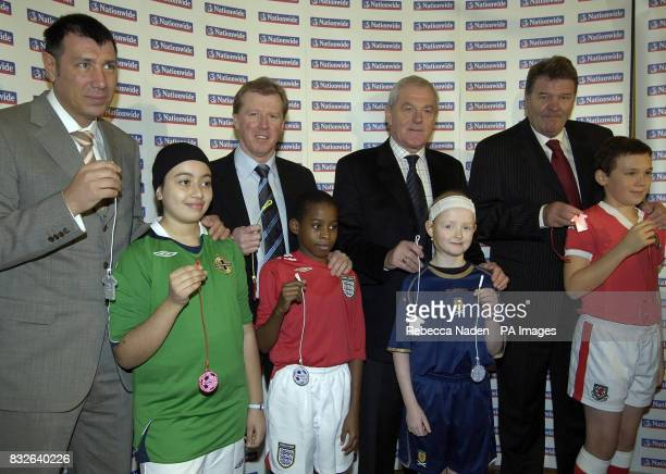 Four Home Nation Managers Northern Ireland manager Lawrie Sanchez with Iman Less Eng and manager Steve McClaren with Louis Jemmott Scottland manager...