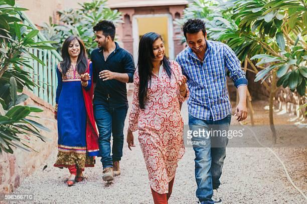 Four Indian friends walking in Jopdhpur