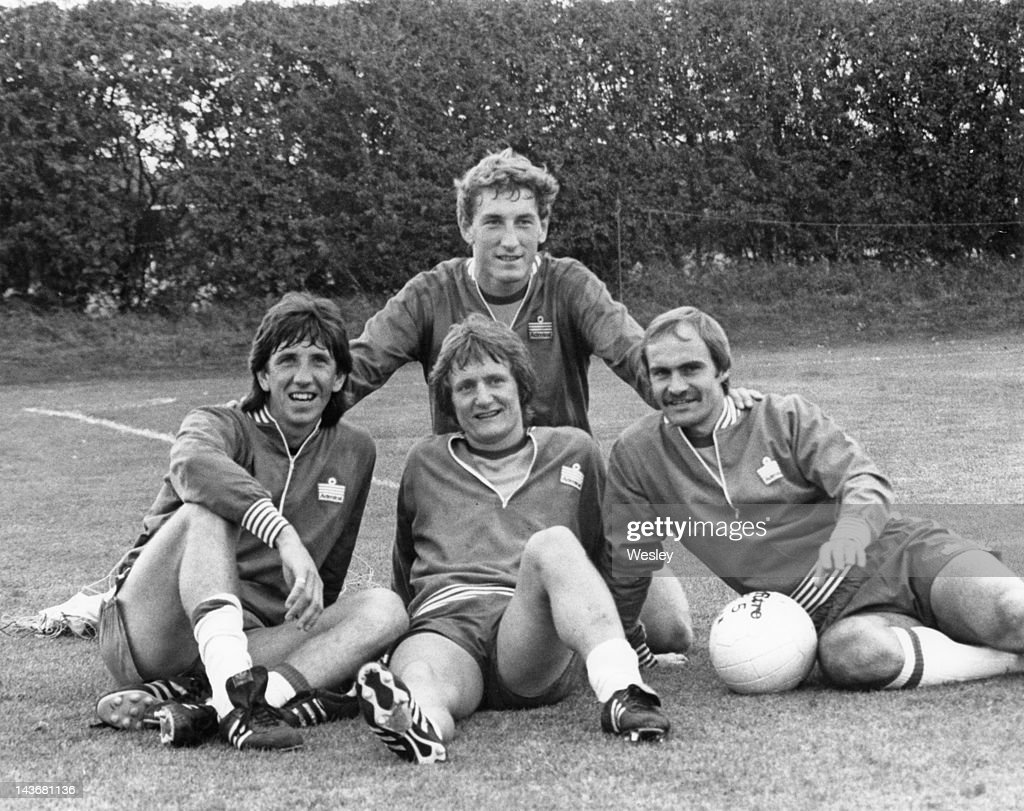 Four Ipswish Town footballers, who are also members of the England team, at an England training session at London, Colney, 8th September 1980. Back: Terry Butcher. Front (left to right): Paul Mariner, Eric Gates and Mick Mills.