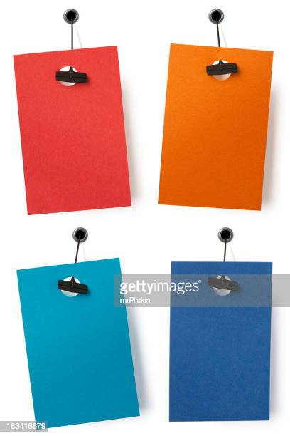 Four isolated blank price labels