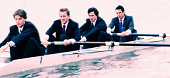 Four male executives in rowing boat (Digital Enhancement)