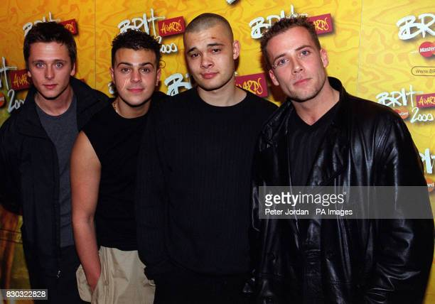 Four members of the pop group Five Ritchie Neville Scott Robinson Sean Conlon and Jason Brown during the press launch of The Brit Awards 2000 in...