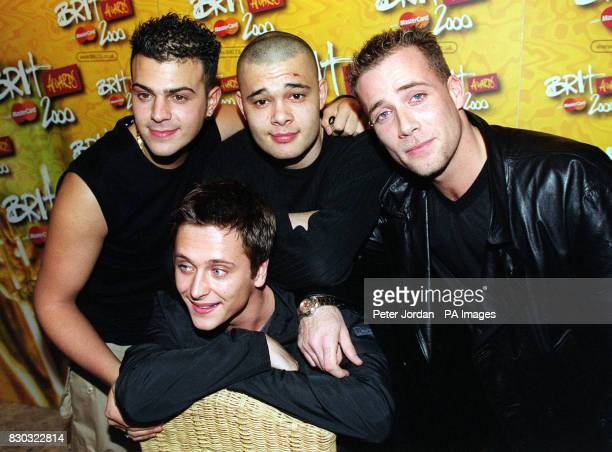 Four members of the pop group Five Scott Robinson Ritchie Neville Sean Conlon and Jason Brown during the press launch of The Brit Awards 2000 at the...
