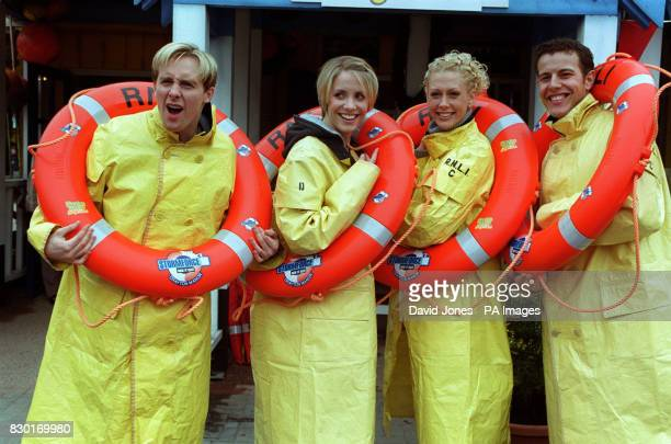 Four members of the Pop group Steps 'H' Claire Faye and Lee at the Drayton Manor Family Theme Park to launch the new Stormforce 10 whiteknuckle...