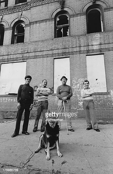 Four men and a German Shepherd in the South Bronx New York City 1976