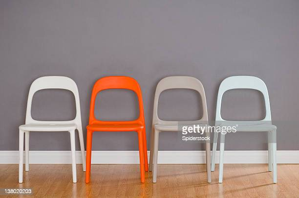 Four Modern Plastic Chairs