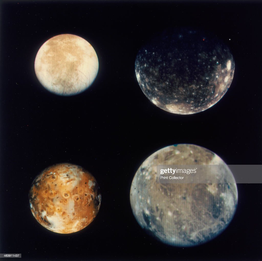 Four moons of Jupiter Io Europa Ganymede and Callisto 1979 Four separate pictures of these moons sometimes known as the Galilean moons taken from...