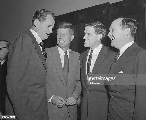 Four of the youngest members of the United States Senate get together during the Senate Organizational Meeting prior to the opening of the 85th...