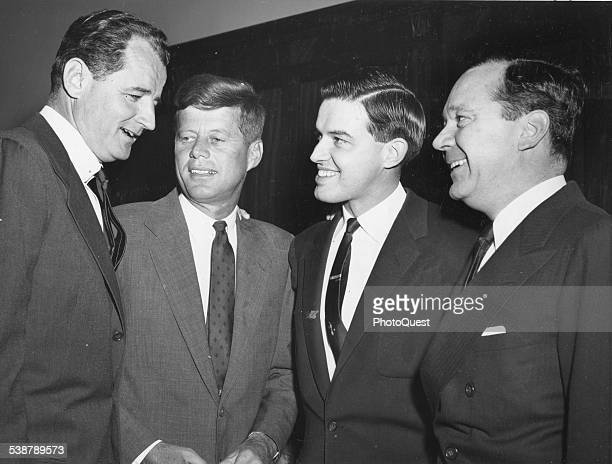Four of the youngest Senators confer during the Senate Democratic organizational meeting prior to the opening of the 85th Congress Washington DC 1957...