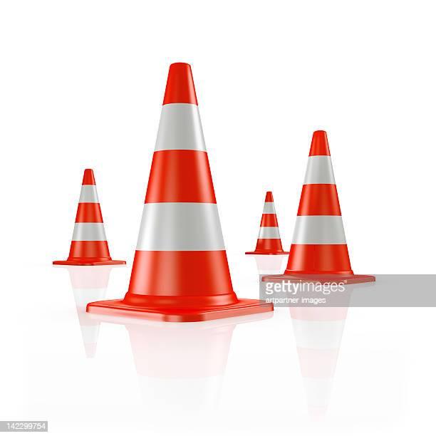 Four orange traffic cones