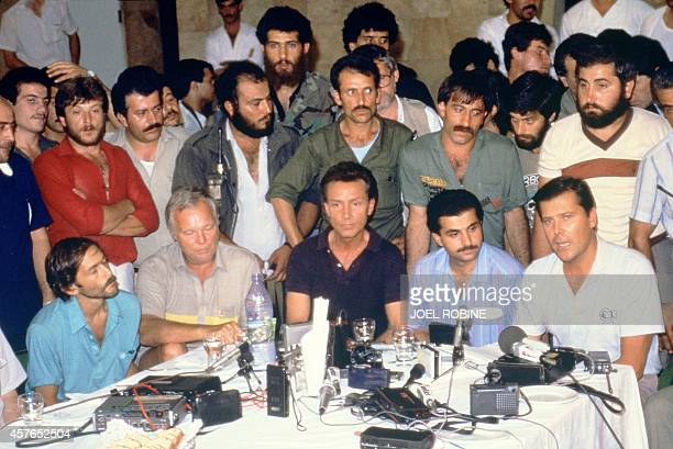 Four out of the five US hostages from hijacked TWA Boeing 727 aircraft are presented by Si'ite Amal militia to the international press 20 June 1985...