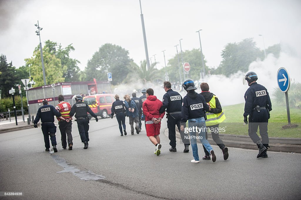 Four people of the CGT were arrested after the police intervention around the roundabout Post in Lille, France on june 28, 2016. A new national day of action against labor law unfolds in the whole of France. Economic blocking action was planned by the CGT in Lille this morning at 6:30 am.