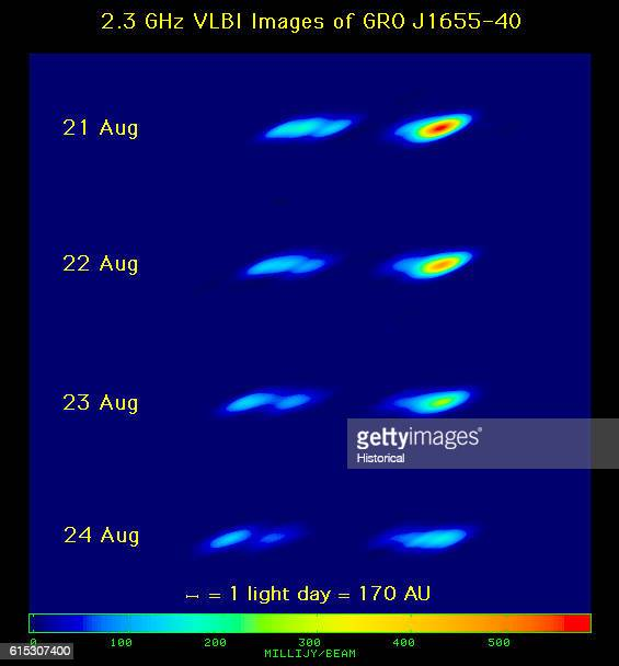 Four photographs taken August 2124 of a star emitting massive quantities of Xrays The object named GRO J165540 is believed to be a quasar powered by...